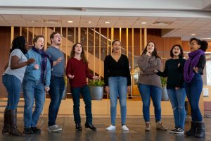 A group of students singing together