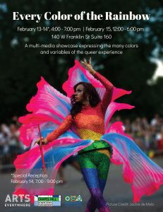 In the center, a performer is wearing a rainbow sequin body with and pink and blue chiffon. Details for the exhibit are at the top, and the event sponsor logos are at the bottom.