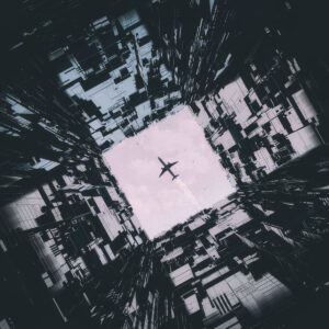 black and white skyscrapers frame a plane in the center square