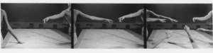 three frames of a person with their hands reaching out as if in a pose