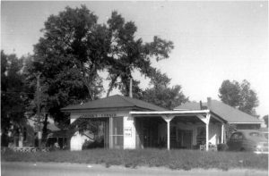 black and white image of the exterior of the restaurant