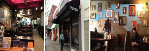 3 images of Pepper's Pizza. The left image shows the interior. The center image shows the exterior. The right image shows a mural of NC and other wall decor inside the establishment.