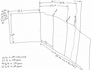 Hand drawn wall with measurements listed